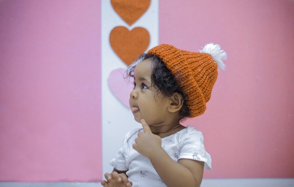 toddler wearing knit cap