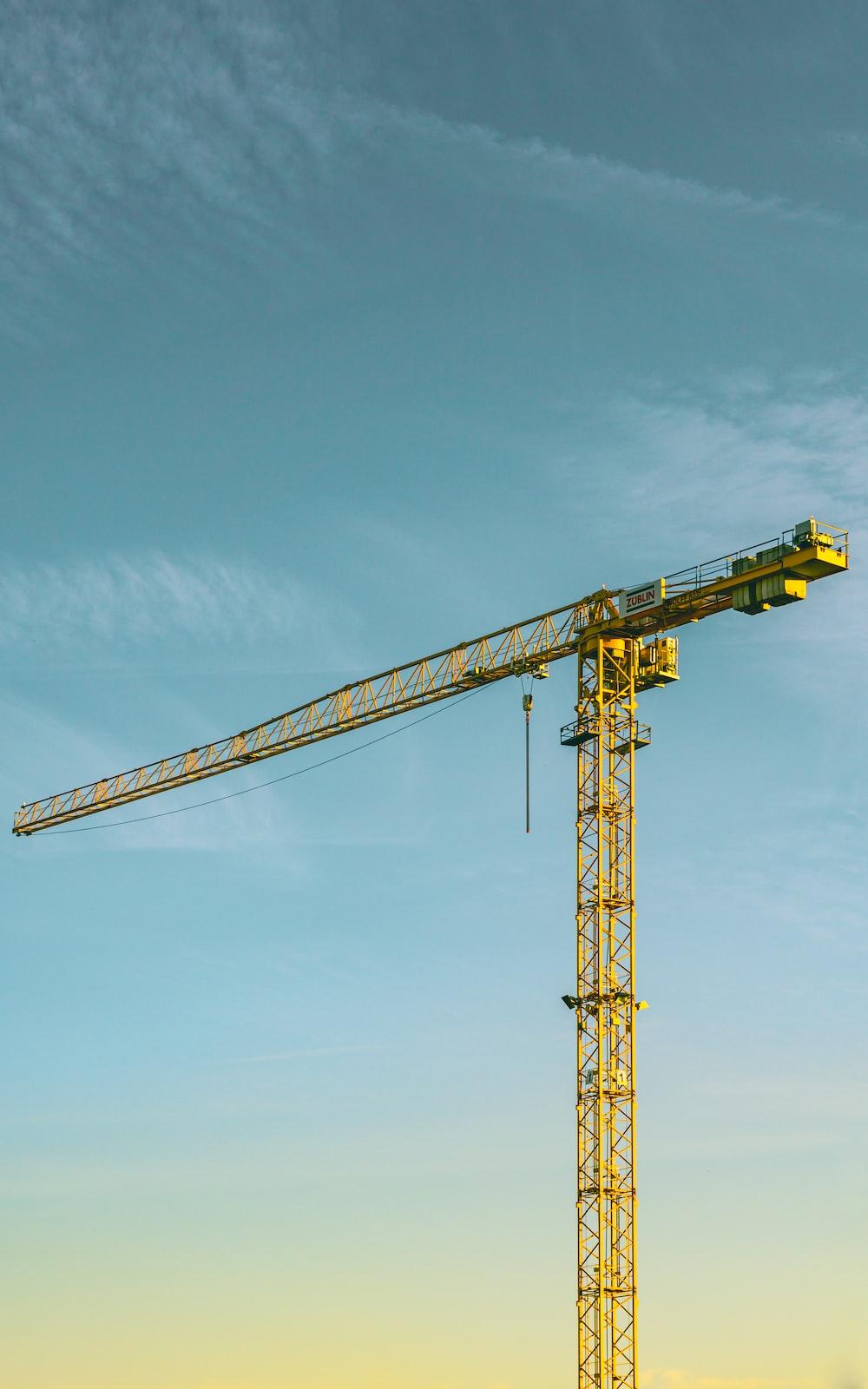 yellow concrete crane