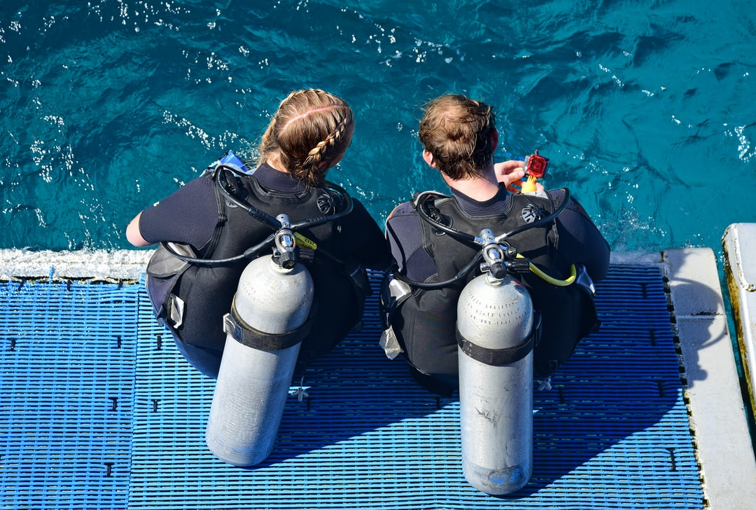 Dive Buddies. A couple of divers complete their safety checks before scuba diving the Outer Great Barrier Reef.