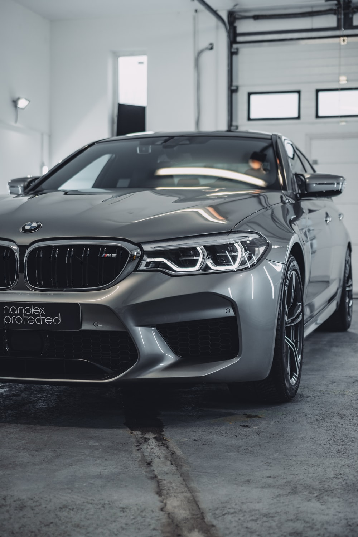gray BMW sedan