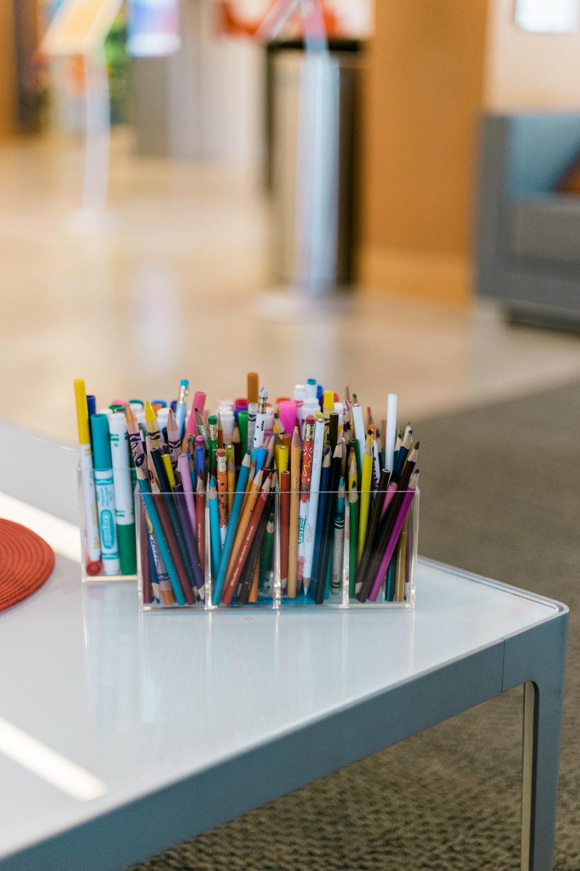 assorted pens in organizer