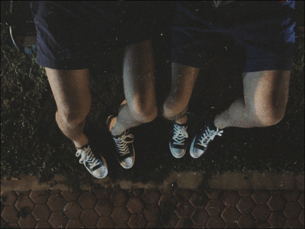 two black low-top sneakers
