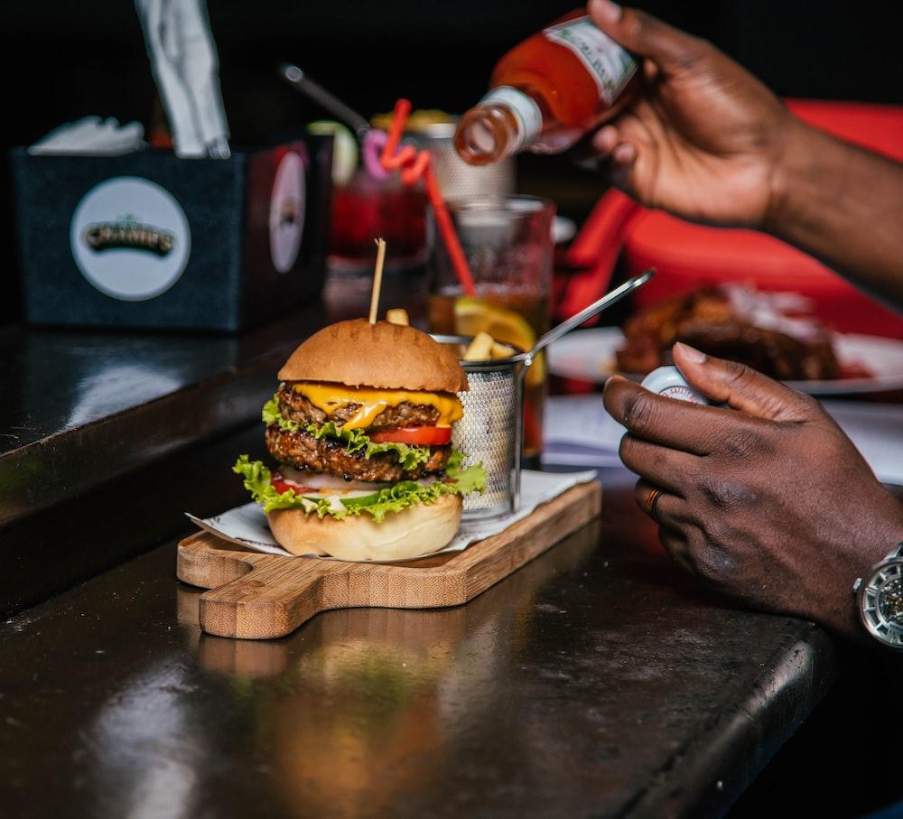 burger with sliced vegetable