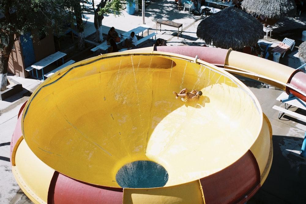round yellow slide