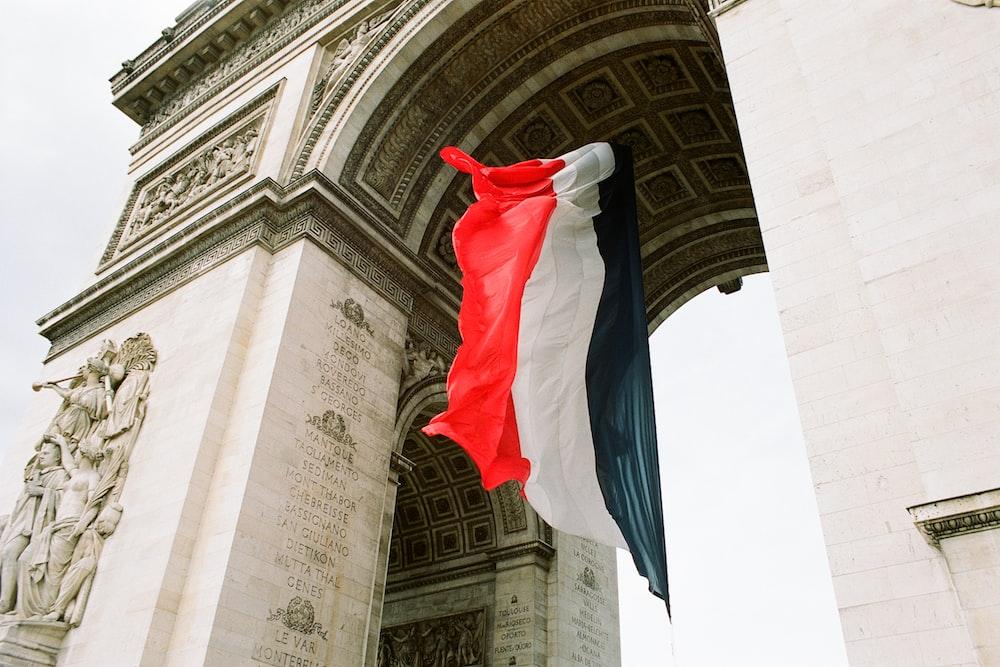 multicolored flag near building