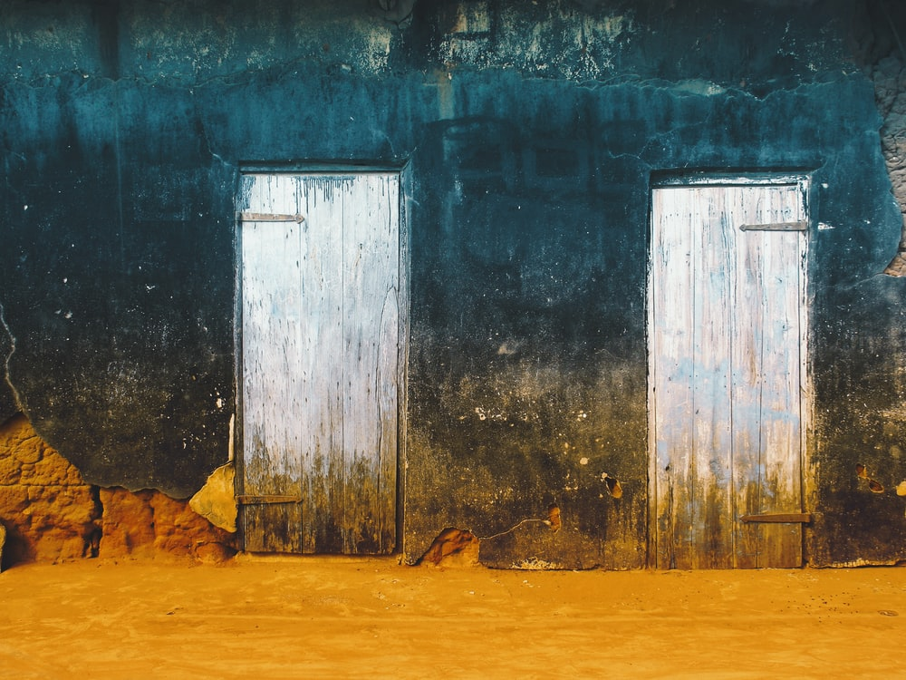 two white wooden doors illustration