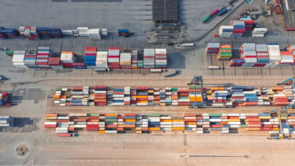 cargo lot aerial view photography