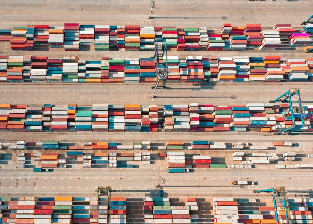 aerial photography shipping containers