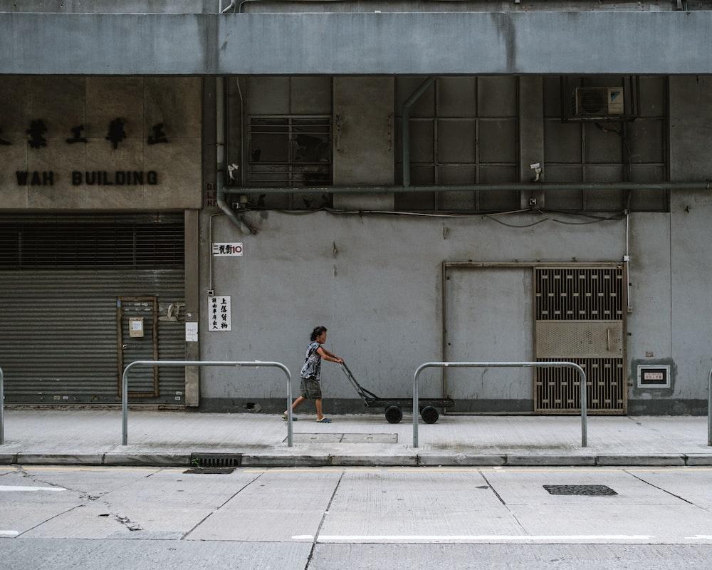 woman pushing black cart near pathway