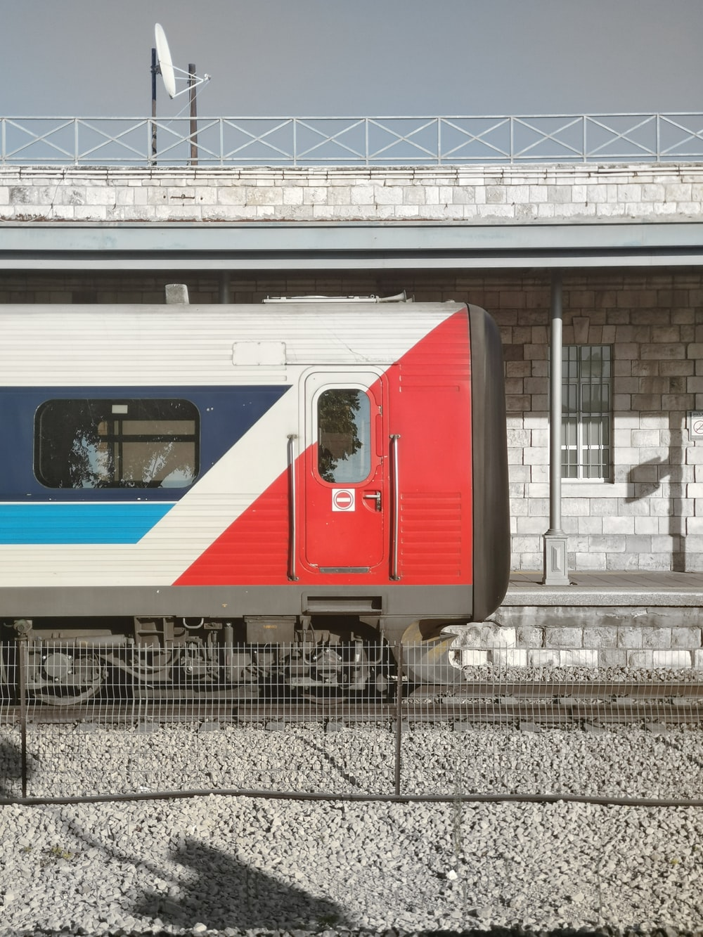 red and white train