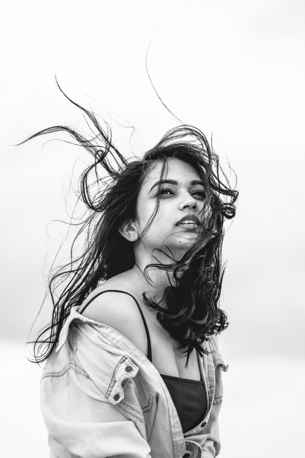 grayscale photograhy of woman