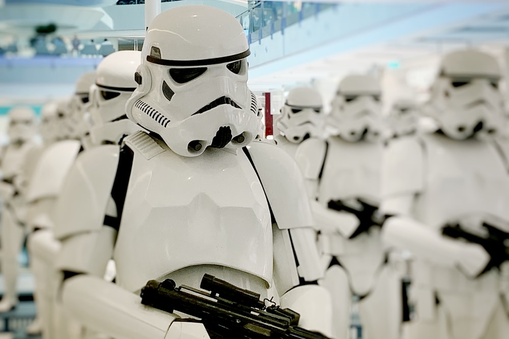 person wearing Storm Trooper costume