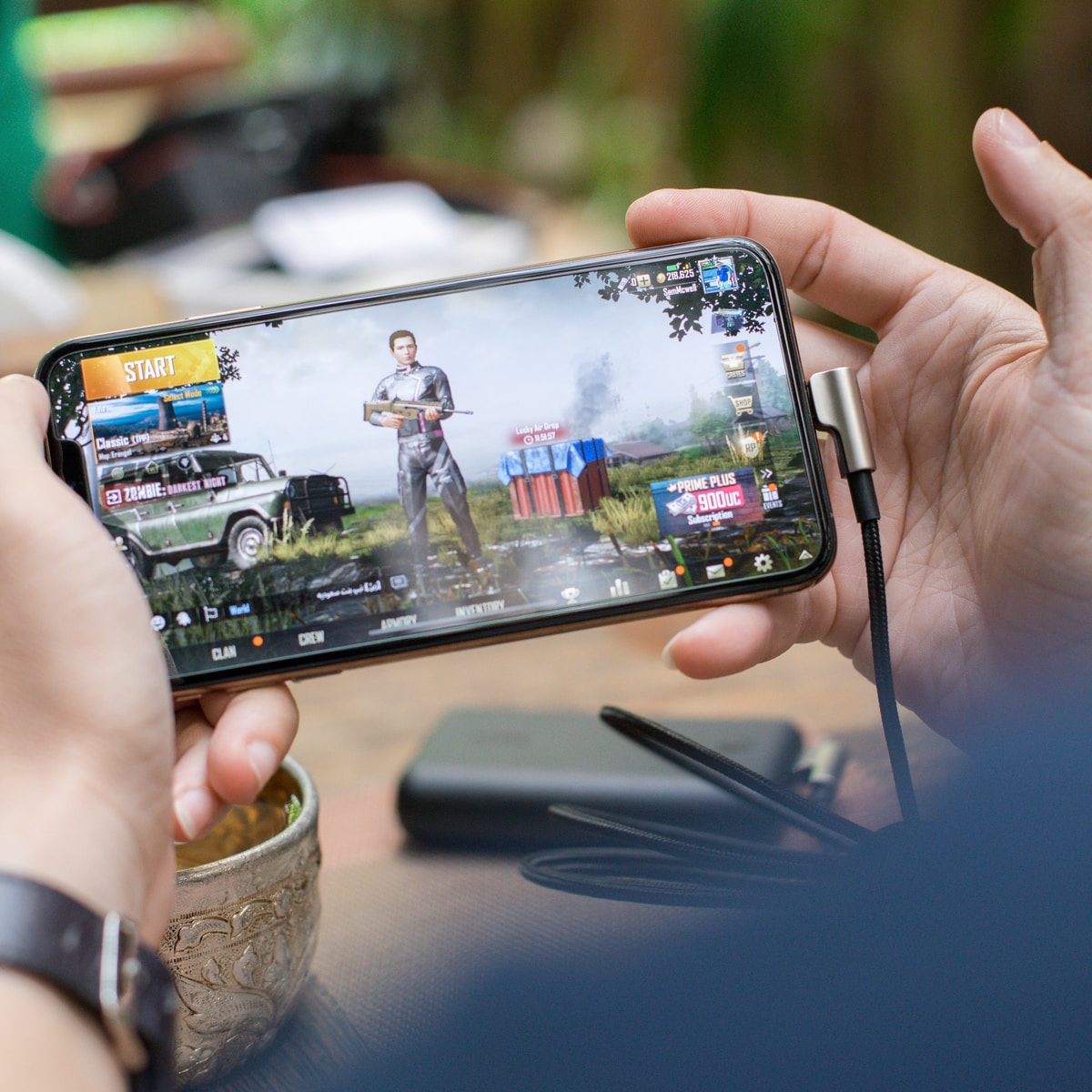 person playing PUBG mobile