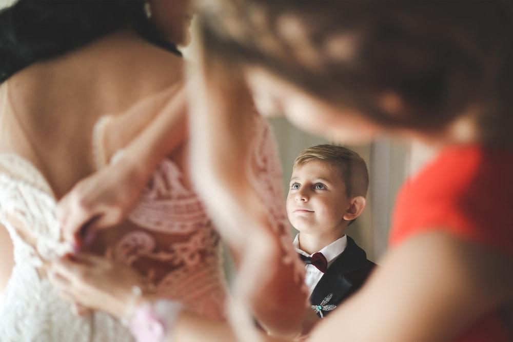 selective focus of boy