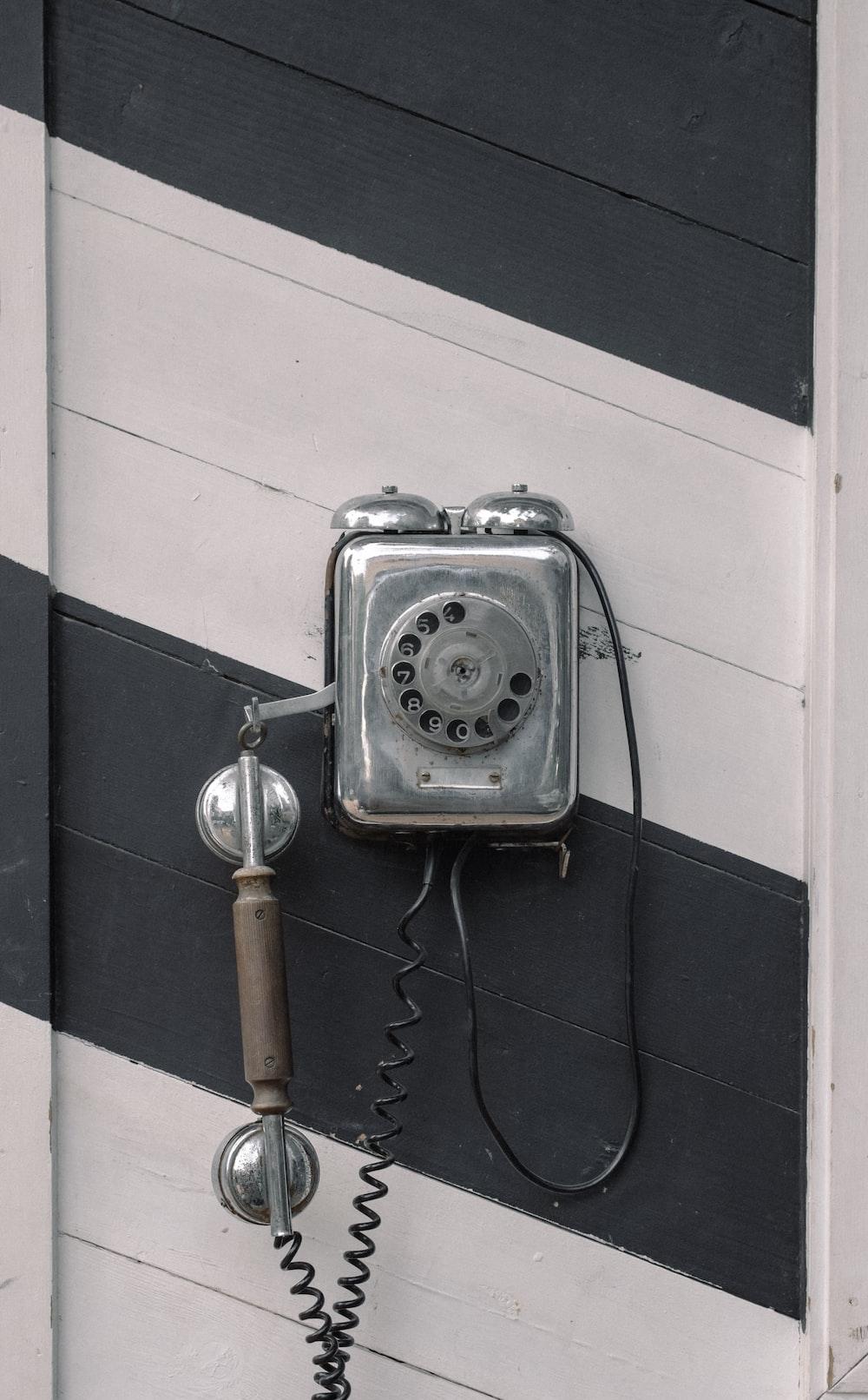 gray candlestick telephone