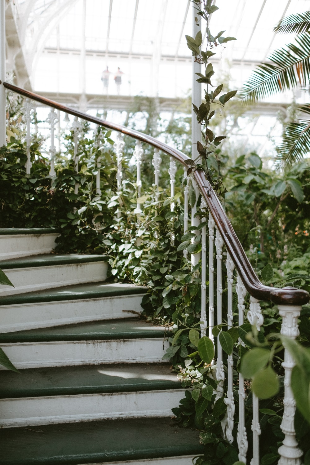 white and brown stairs