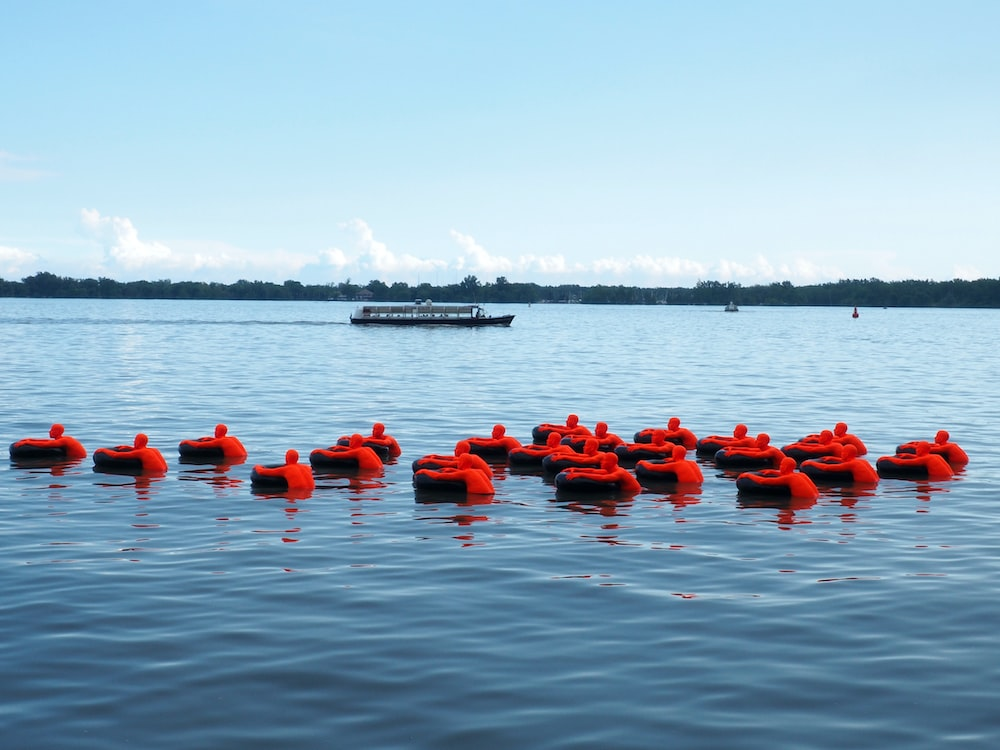 red floating device