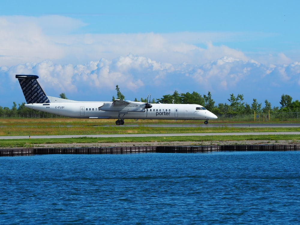 white plane near body of water