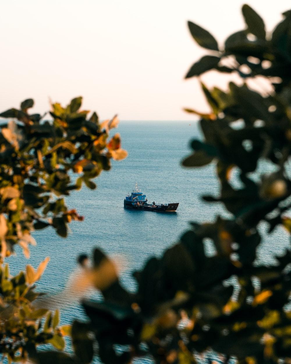 black ship on sea