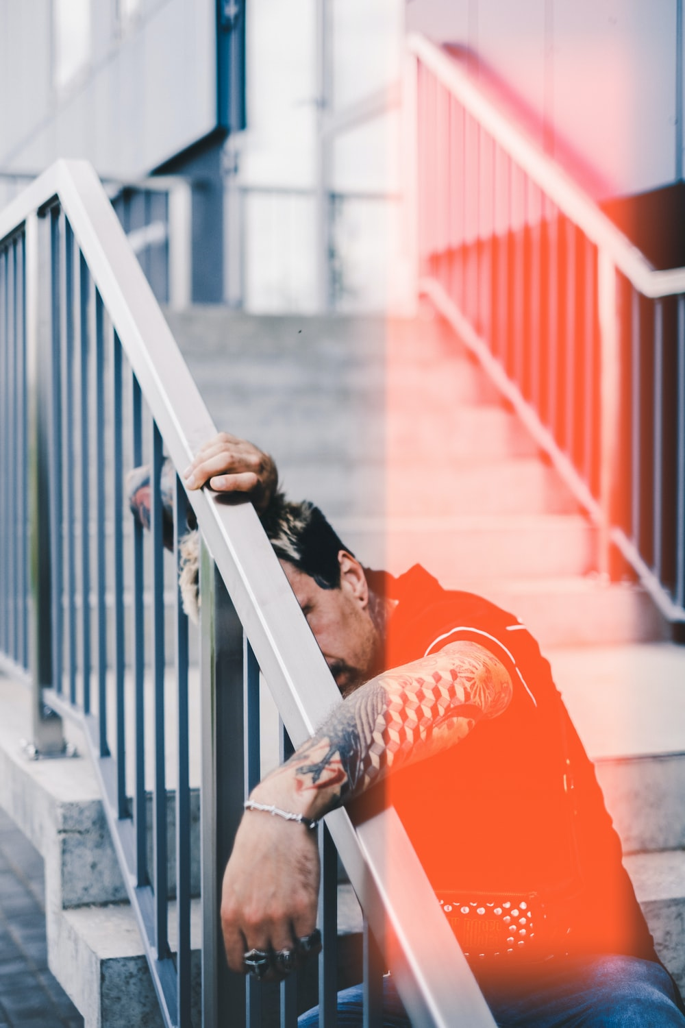man siting on stair