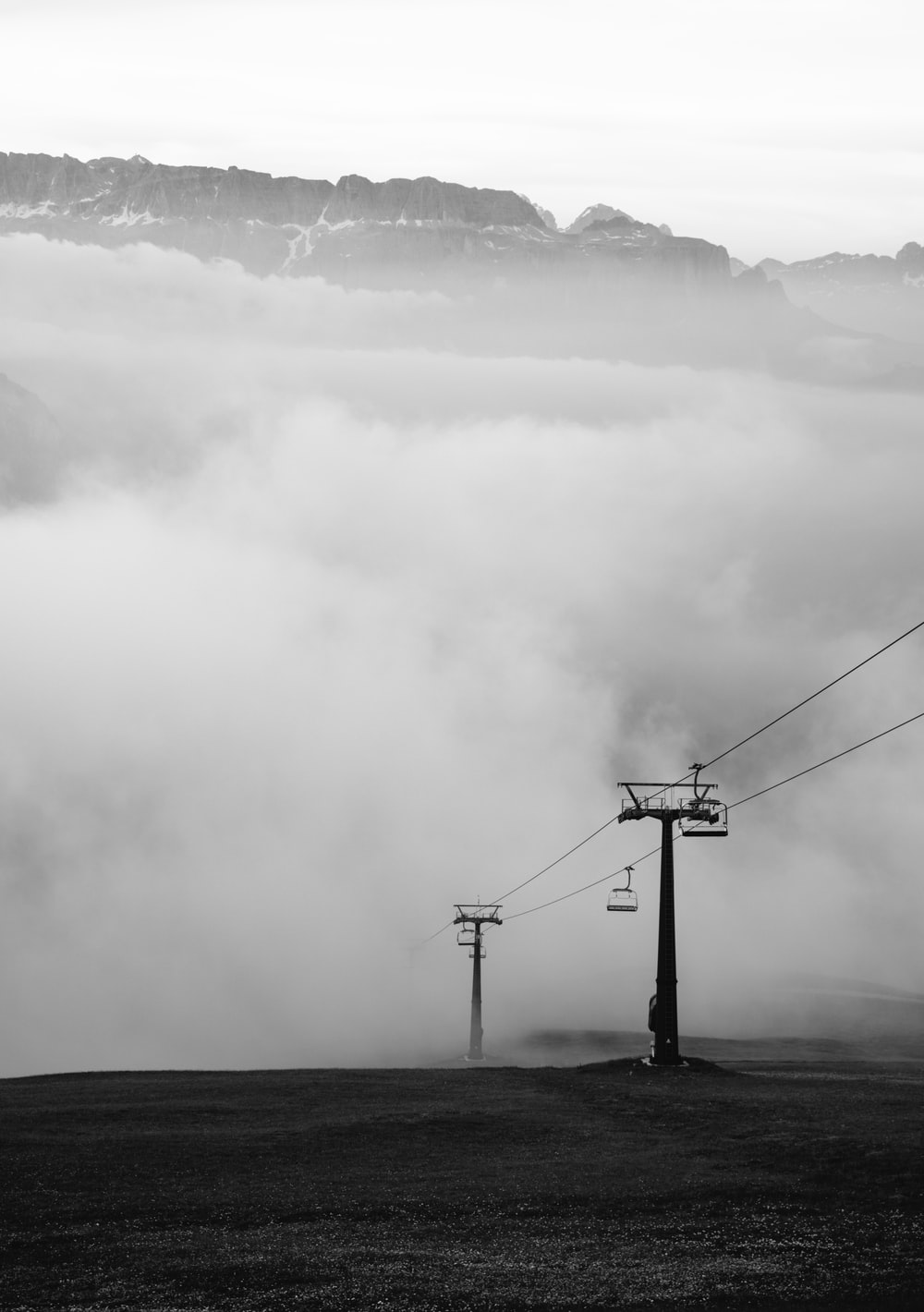clouds forming near cable cart