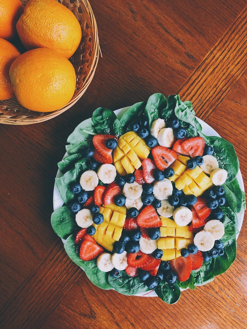 fruit salad on white plate