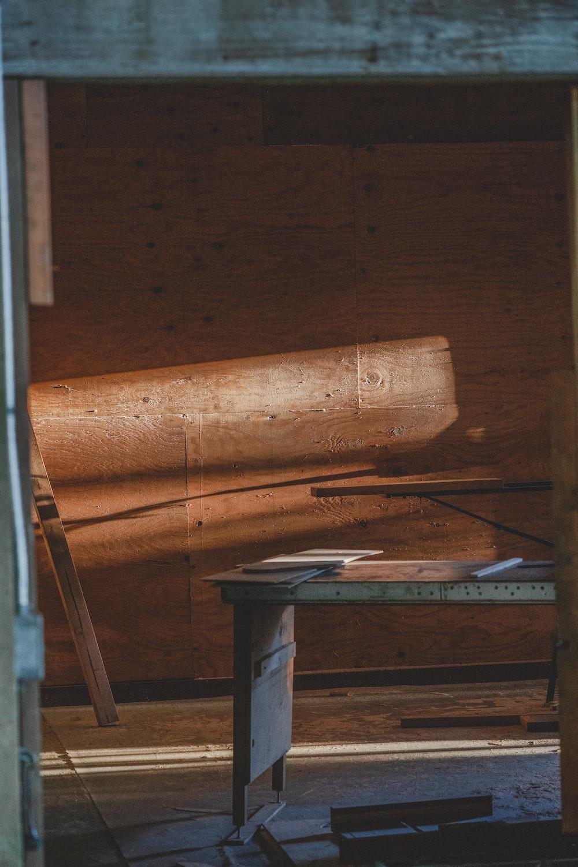 rectangular gray wooden table