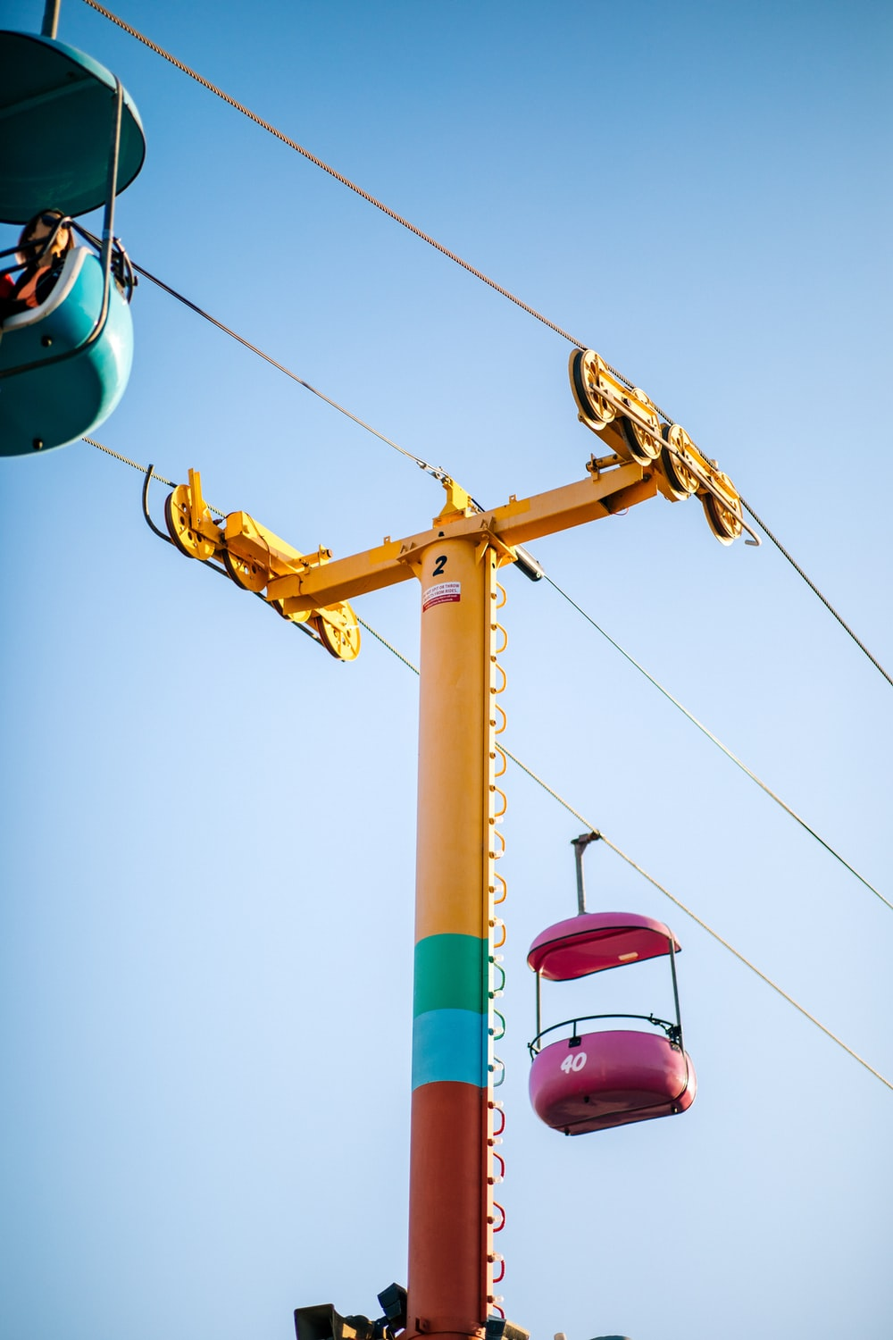 yellow and brown utility tower