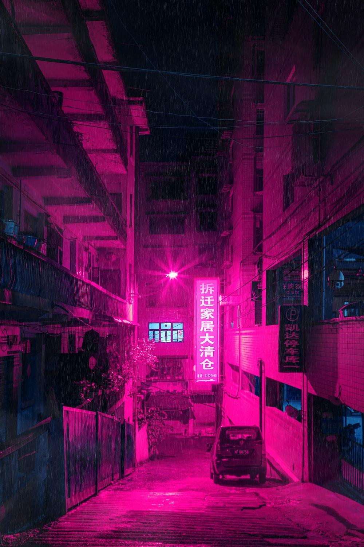 pink LED building signed turned on