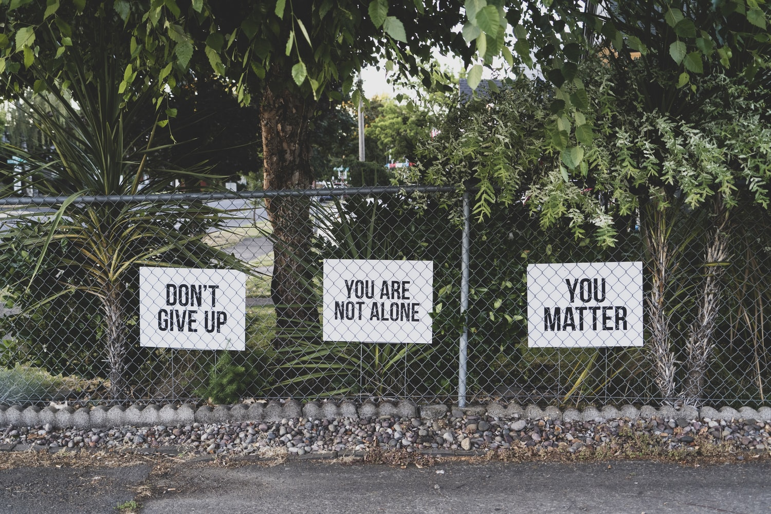 Don't give up, you are not alone, you matter, signs on a chainlink fence