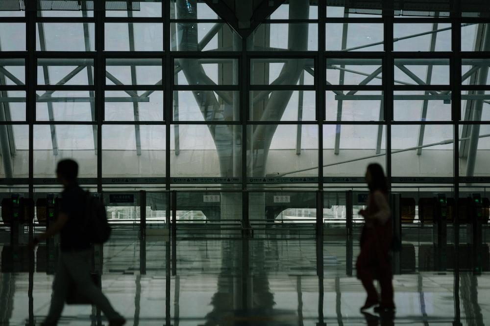 few people walking inside building