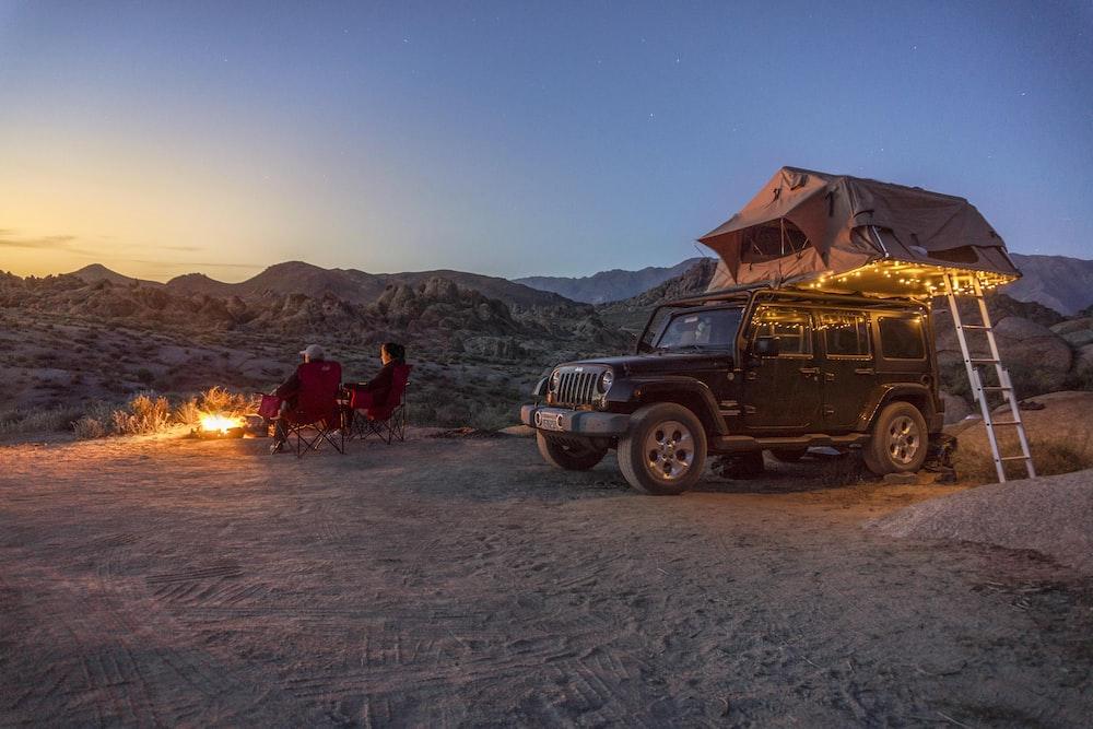 black jeep at a desert