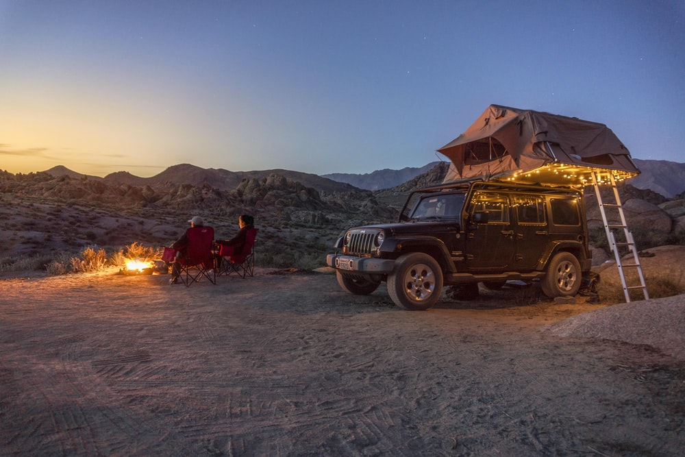 black jeep at a desert