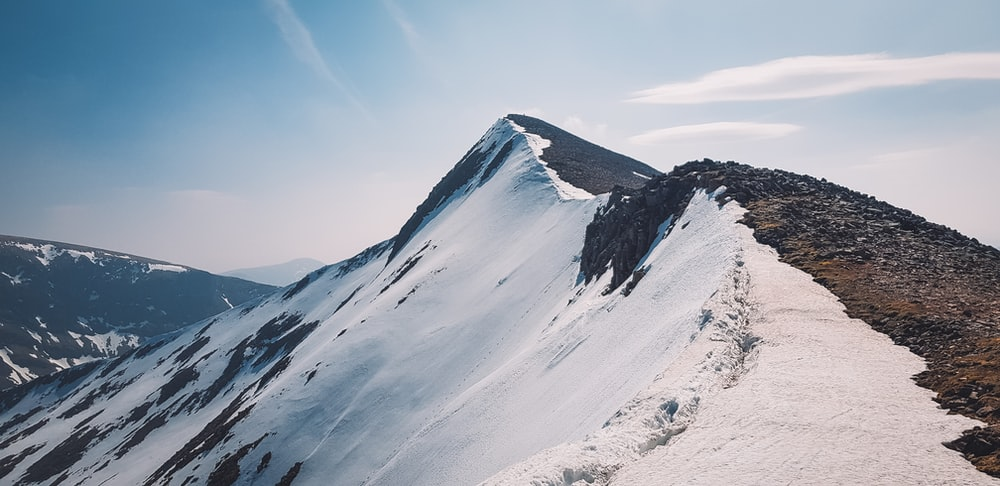 white and brown mountain
