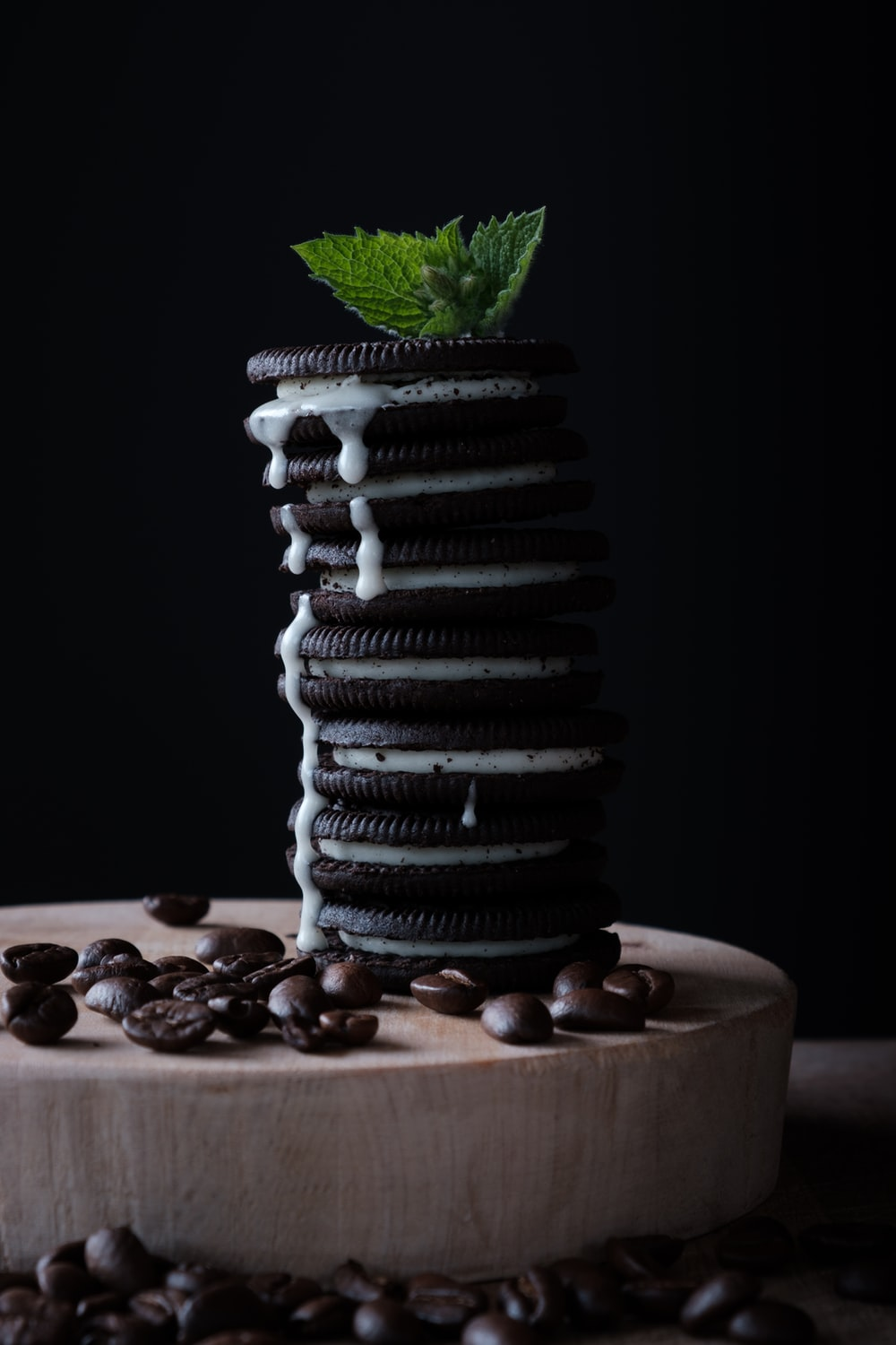 pile of chocolate cookies on brown chopping board