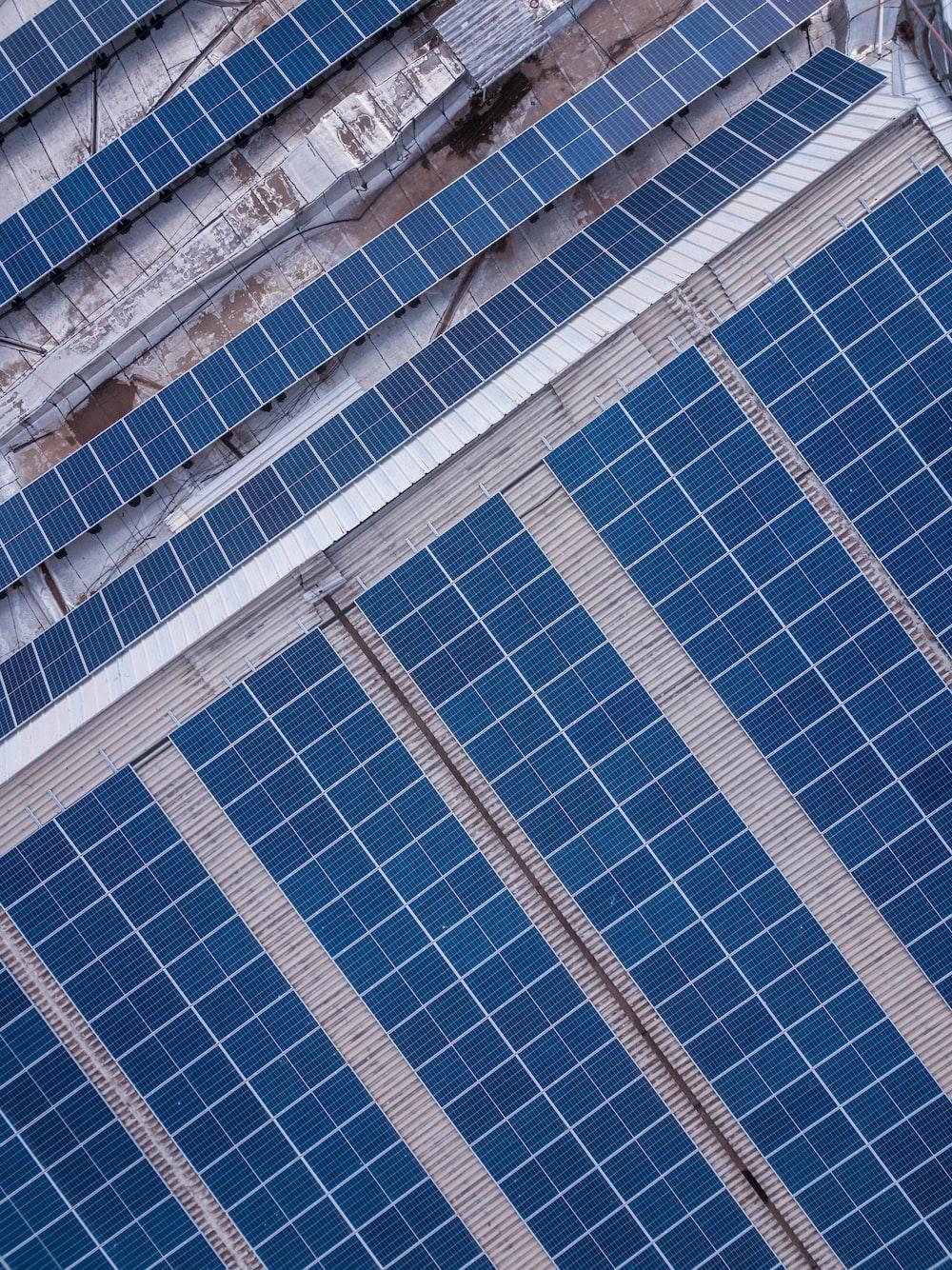 blue solar panel lot