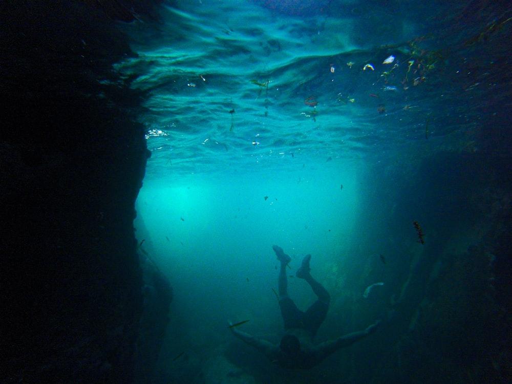 person diving into sea