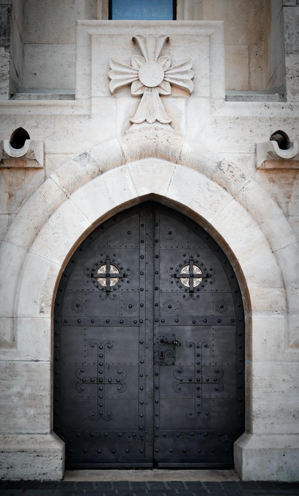 gray metal closed door