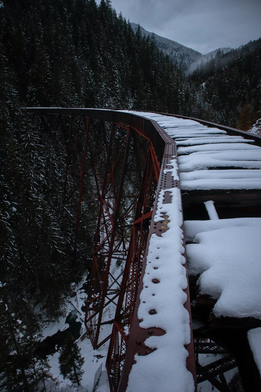 snow cover train railings