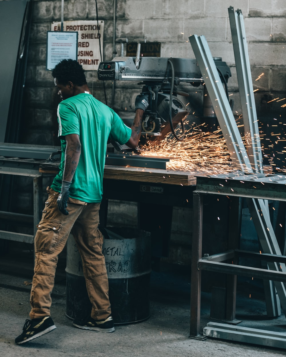 man working with industrial machine