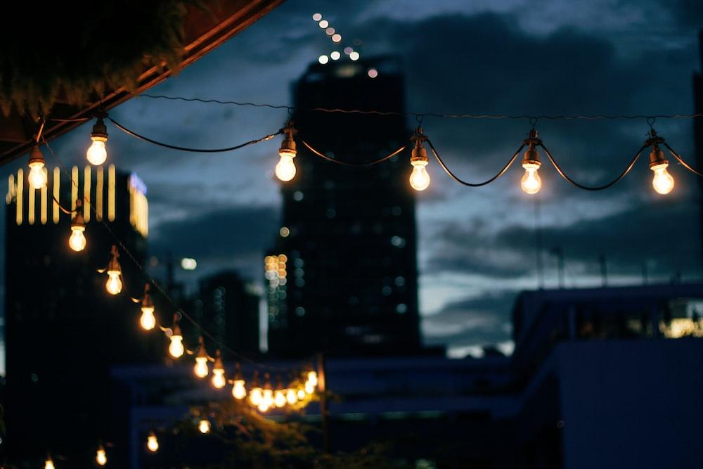 turned-on string lights