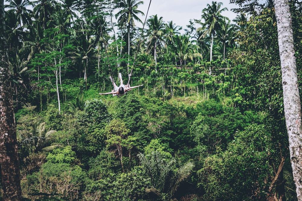 man ziplining above trees