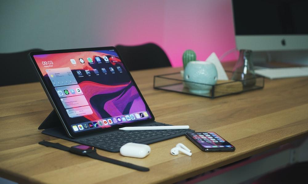 black tablet computer turned on