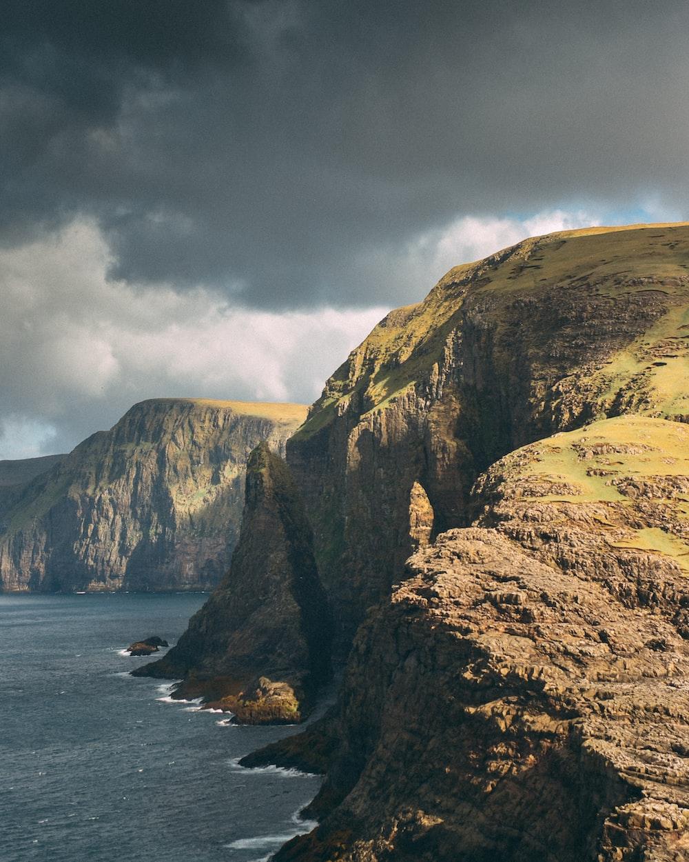 cliff beside sea