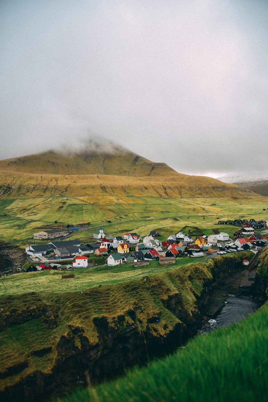 green hill near houses