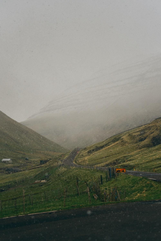 empty road near hills
