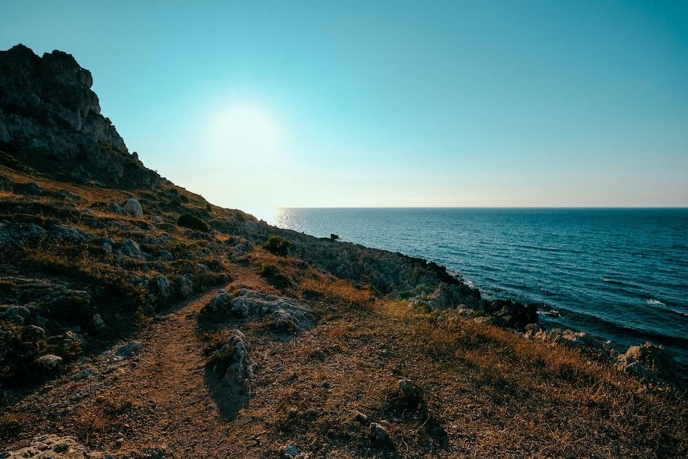 rock mountain in coastal area