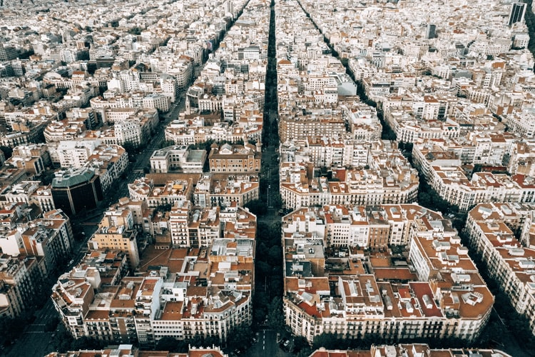 Eixample from the air, Barcelona