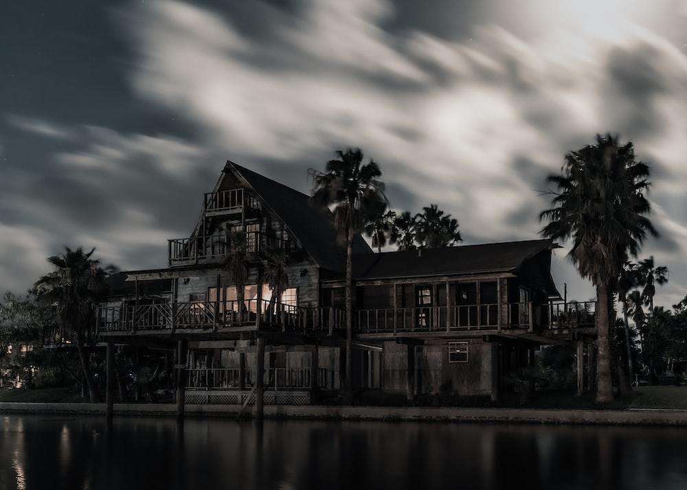 black wooden mansion
