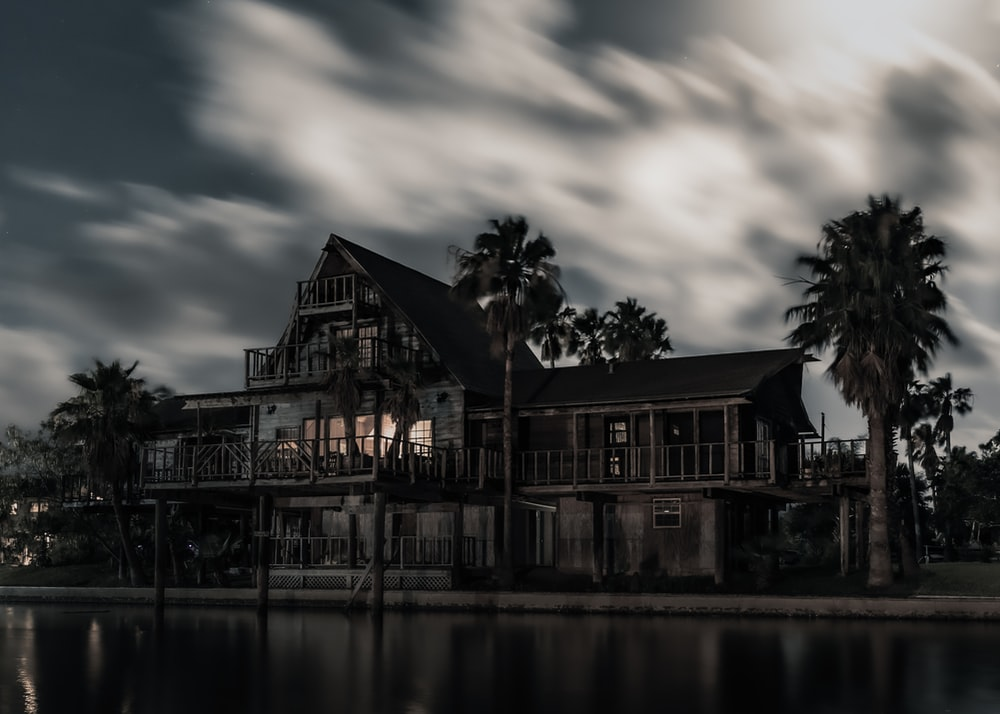 black wooden mansion